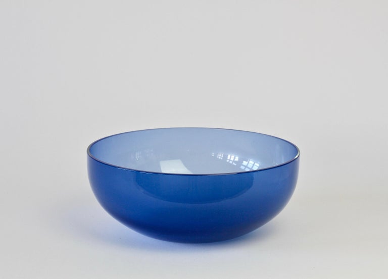 Italian Antonio da Ros 'Attributed' for Cenedese Opaline Blue Colored Murano Glass Bowl For Sale