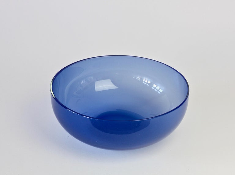 20th Century Antonio da Ros 'Attributed' for Cenedese Opaline Blue Colored Murano Glass Bowl For Sale