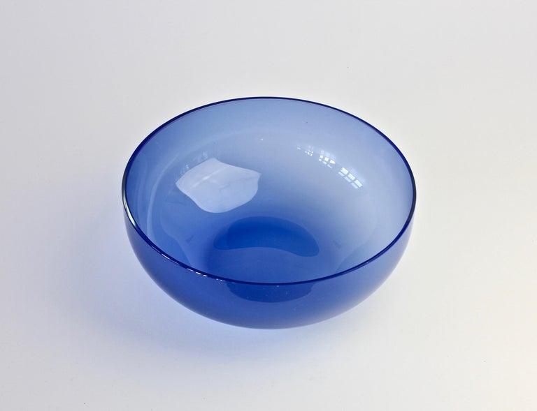 Antonio da Ros 'Attributed' for Cenedese Opaline Blue Colored Murano Glass Bowl For Sale 1