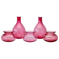 Antonio da Ros for Cenedese Attributed, Set of Pink Colored Murano Glass Vessels