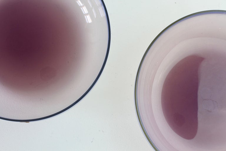 Antonio da Ros for Cenedese Murano Glass Pair of Pink Lilac Coloured Glass Bowls For Sale 5