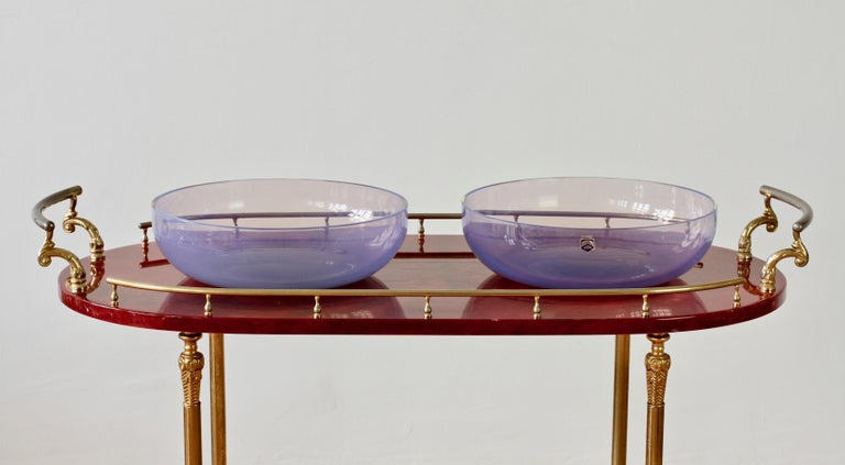 Antonio da Ros for Cenedese Murano Glass Pair of Pink Lilac Coloured Glass Bowls For Sale 1