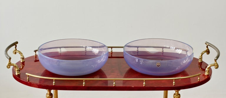 Antonio da Ros for Cenedese Murano Glass Pair of Pink Lilac Coloured Glass Bowls For Sale 2