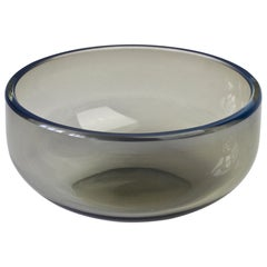 Antonio da Ros for Cenedese Vintage Grey & Blue Murano Glass Bowl or Ashtray