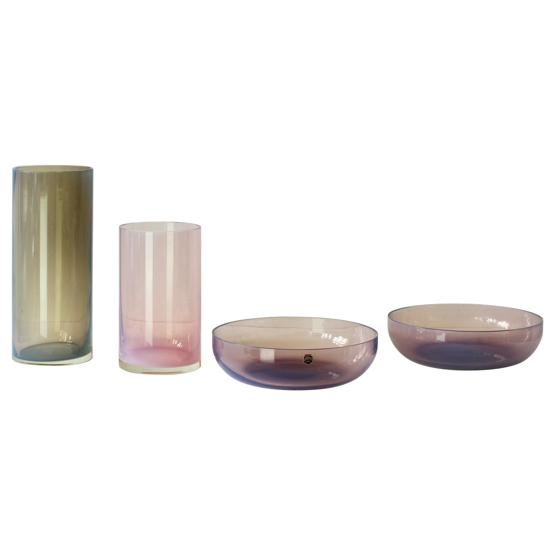 Antonio da Ros for Cenedese Murano Glass Set of Vibrantly Colored Vessels
