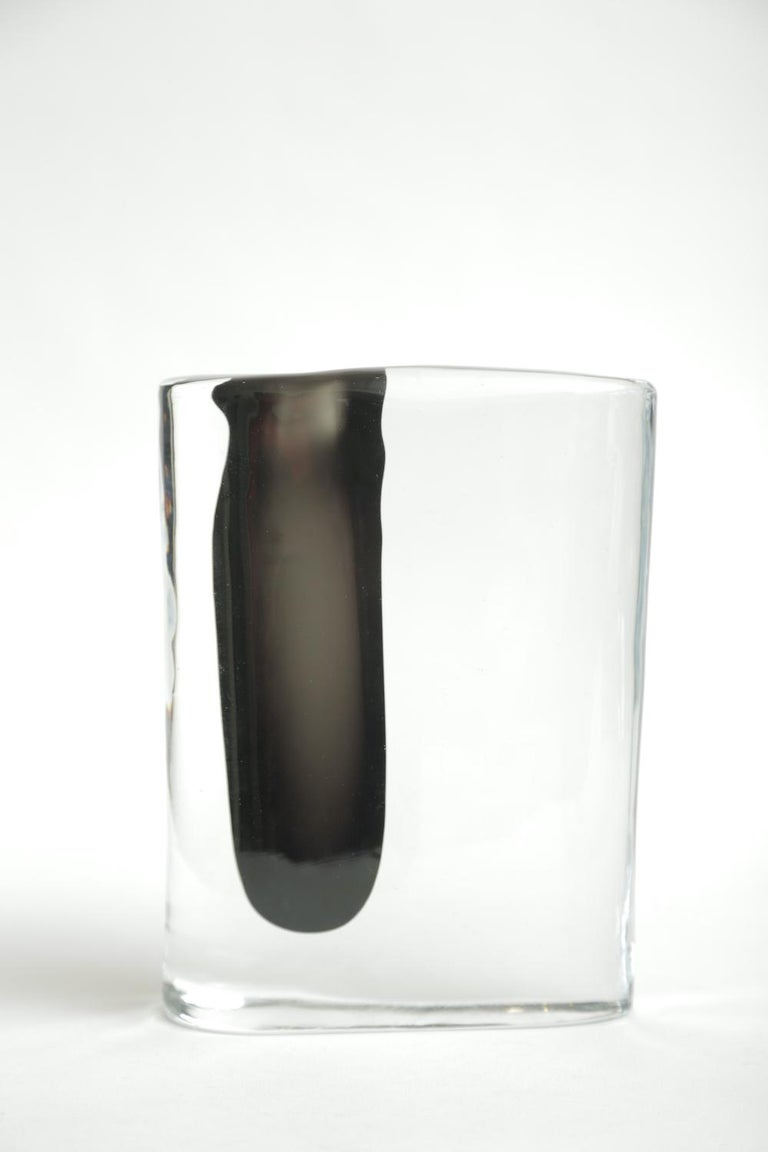 European Cenedese Murano Black and Clear Glass Vase Vintage