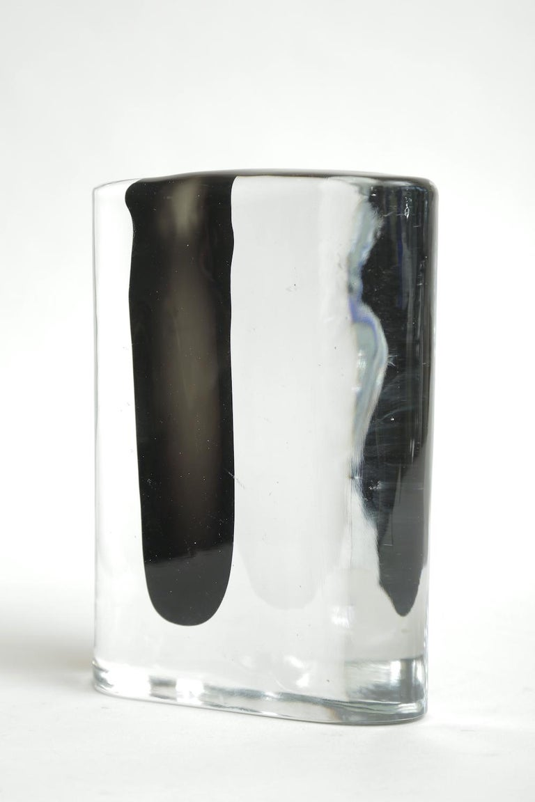 Late 20th Century Cenedese Murano Black and Clear Glass Vase Vintage