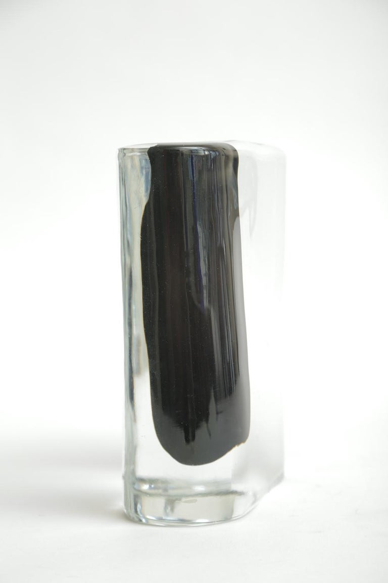 Cenedese Murano Black and Clear Glass Vase Vintage 1