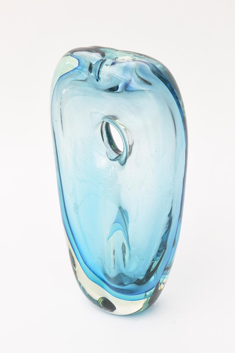 Italian Cenedese Murano Blue Sommerso Vase or Glass Sculpture Vintage For Sale