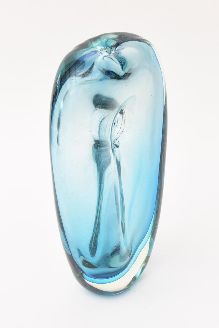 Cenedese Murano Blue Sommerso Vase or Glass Sculpture Vintage In Good Condition For Sale In North Miami, FL