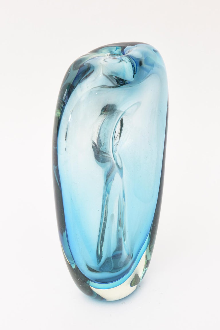 Blown Glass Cenedese Murano Blue Sommerso Vase or Glass Sculpture Vintage For Sale