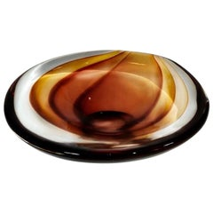 Antonio Da Ros for Cenedese, Sommerso Murano Art Glass Bowl, Vide-Poche, Amber