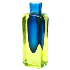 Antonio da Ros Vase, Cenedese, Glass, Sommerso, Blue and Chartreuse Yellow