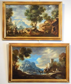 Diziani Pair Of Landscapes Paint View Old master Oil on canvas 18th Century Art