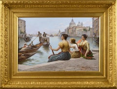 19th Century genre oil painting of Venetian women by the Grand Canal, Venice