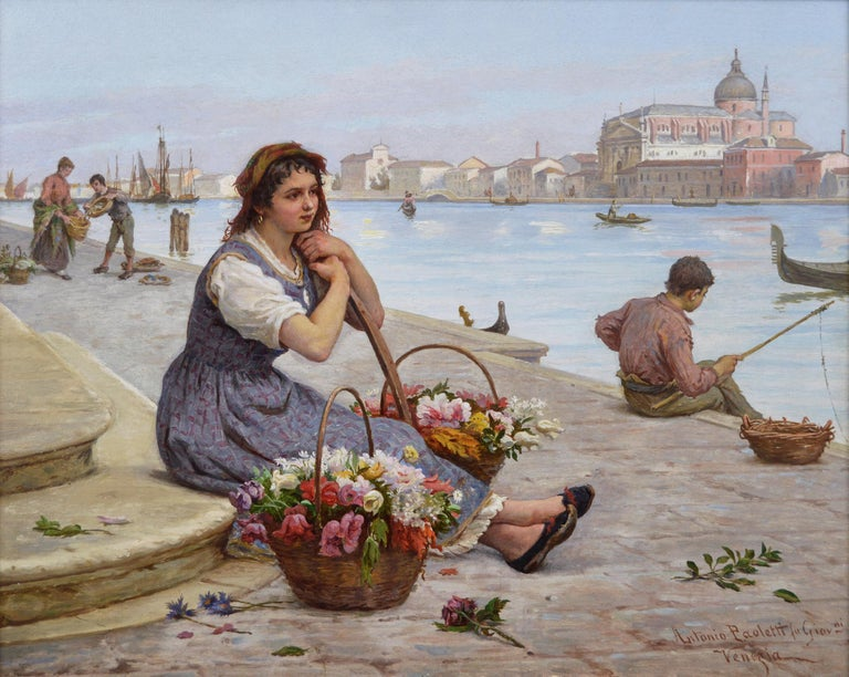 19th Century townscape oil painting of a flower seller by the Grand Canal Venice - Painting by Antonio Ermolao Paoletti