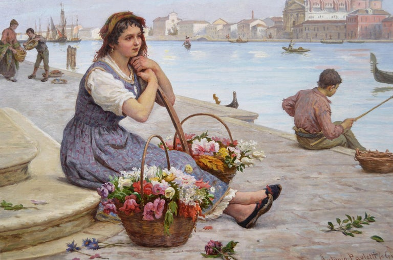 19th Century townscape oil painting of a flower seller by the Grand Canal Venice - Victorian Painting by Antonio Ermolao Paoletti