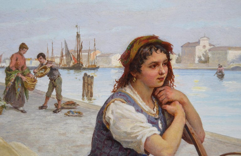 19th Century townscape oil painting of a flower seller by the Grand Canal Venice - Brown Landscape Painting by Antonio Ermolao Paoletti