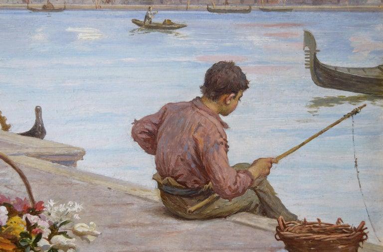 Antonio Ermolao Paoletti Italian, (1834-1912) The Venetian Flower Seller Oil on panel, signed Image size: 15.5 inches x 19.5 inches  Size including frame: 21.5 inches x 25.5 inches  Antonio Ermolao Paoletti was born on 8 May 1834 in Venice, the son