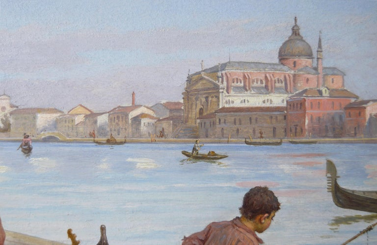19th Century townscape oil painting of a flower seller by the Grand Canal Venice For Sale 2