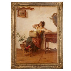 Italian oil on canvas painting of a lacemaker by Paoletti