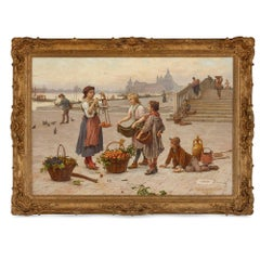 Italian oil painting of a fruit seller in Venice by Paoletti