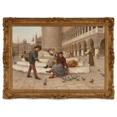 Italian oil painting of St Mark's Square by Paoletti