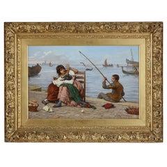 Large Italian genre painting by Antonio Ermolao Paoletti