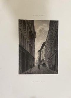De Rue de l'Hotel De Ville - Lithograph by Antonio Fontanesi - 19th Century