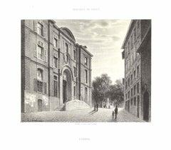 Interieur de Geneve. L'Hopital - Lithograph by Antonio Fontanesi - 1854