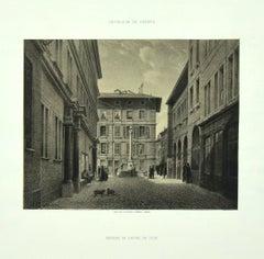 Interieur de Geneve [...] - Lithograph by Antonio Fontanesi - 1850s