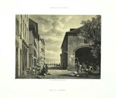 Interieur de Geneve. Place de la Grenet - Lithograph by Antonio Fontanesi - 1854