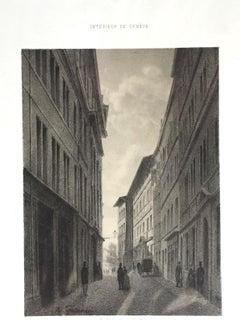 Interieur de Geneve. Rue de l'Hotel de Ville - Lithograph by A. Fontanesi - 1854