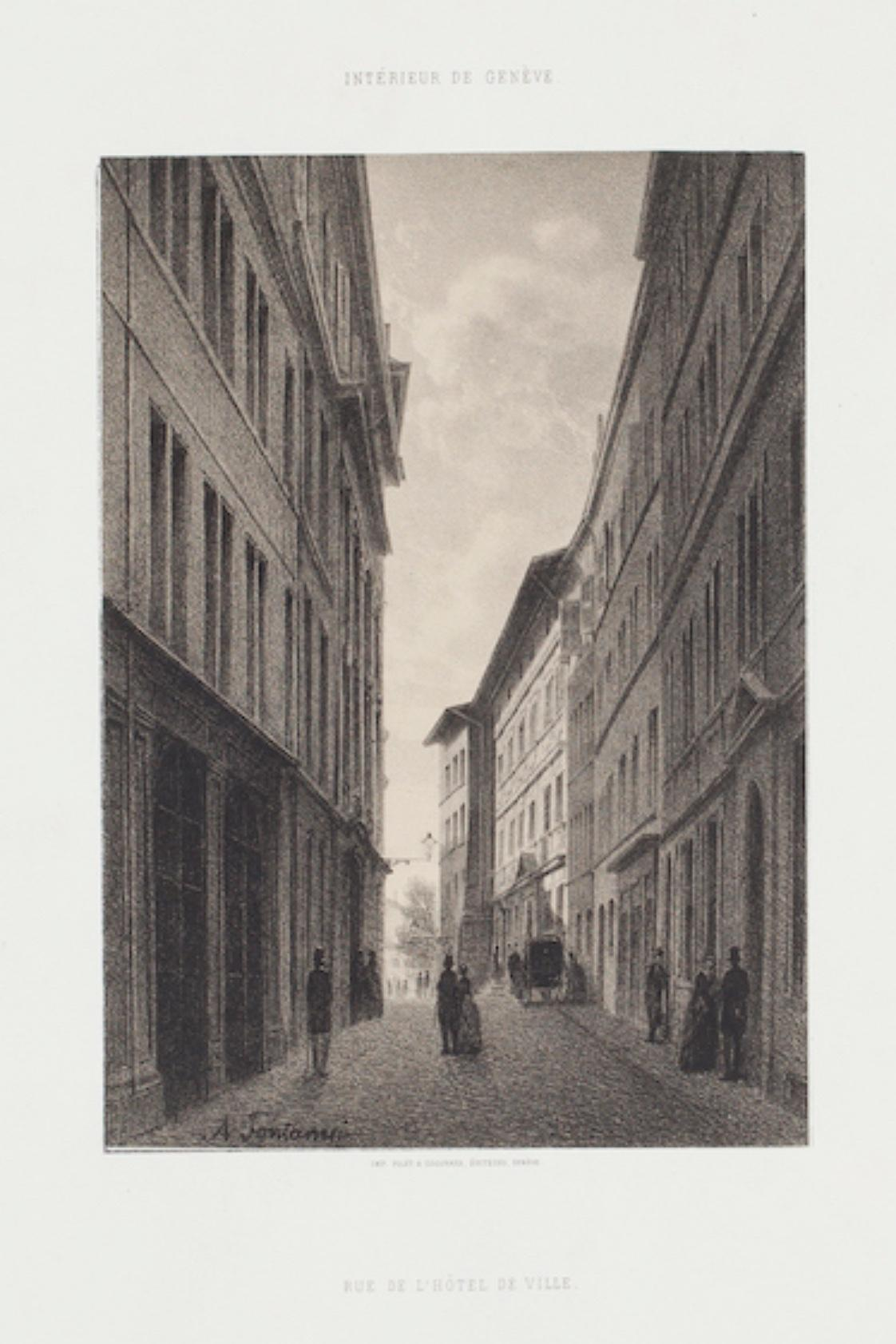 Interior of Geneve - Original Lithograph by Antonio Fontanesi - 19th Century