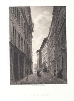 Interior of Geneve - Original Lithograph by Antonio Fontanesi - Mid-19th Century