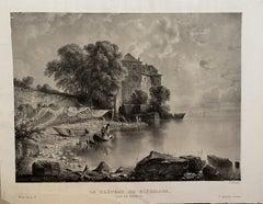 Lac De la Geneve - Original Lithograph by Antonio Fontanesi - 19th Century
