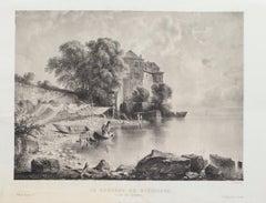 Lac De la Geneve - Original Lithograph by Antonio Fontanesi - Mid-19th Century