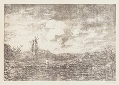 Landscape - Original Lithograph by Antonio Fontanesi - 1880