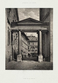 Porte de la Treille - Original Lithograph by Antonio Fontanesi - 1854