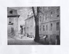 The Interior of Geneve - Original Lithograph by Antonio Fontanesi - 19th Century