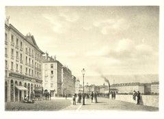 View of Geneve - Original Lithograph by Antonio Fontanesi - 1850 ca.