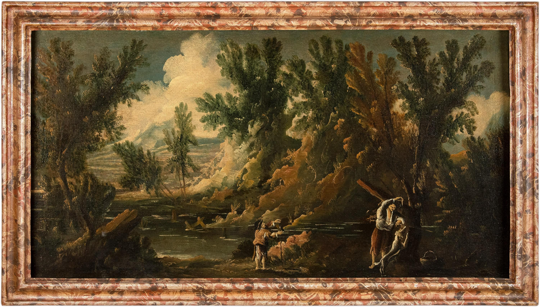 18-19th century Italian figure painting - Landscape - Oil on canvas Italy hunt