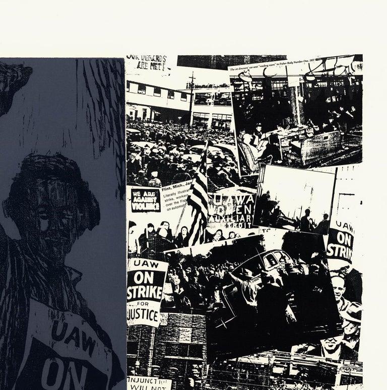 United Auto Workers, 1936-1937. - Black Print by Antonio Frasconi