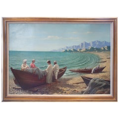 Antonio Fuertes 1986, Oil on Canvas Painting of Moroccan Fishermen