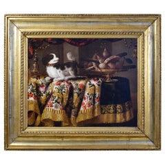 Antonio Gianlisi 18th Century Italian Oil Painting, Still Life with a Little Dog