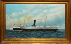 "Antique Nautical Seascape Oil Painting, ""Horatio Hall 1908"" by Antonio Jacobsen"