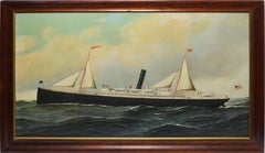 """Antique Southern Nautical Seascape Oil Painting, """"Creole"""" by Antonio Jacobsen"""