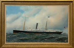 Aransas Steam Liner Nautical Painting Signed by Antonio Jacobsen and dated 1905