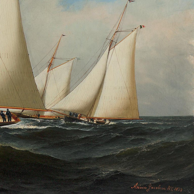 An early and important marine painting by one of the most important 19th century American maritime artists. Other artists of the period include Cozzens, Buttersworth, Salmon, and Fitz Lane.  Framed dimensions: 29 x 43 inches  PROVENANCE Private