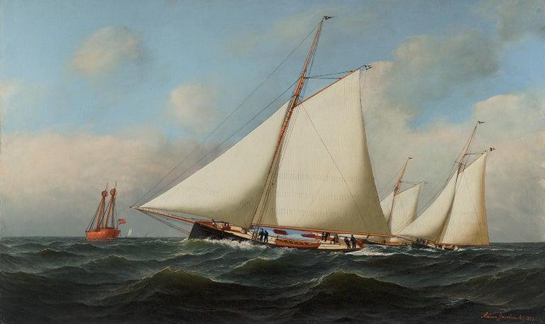 New York Yacht Club Race, 1878 - Painting by Antonio Jacobsen